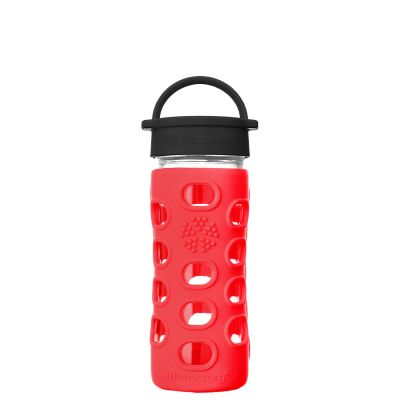 Apple Red Glass Water Bottle 350ml
